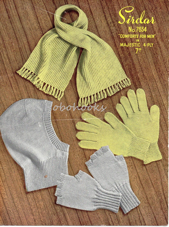 Vintage Mens Balaclava Gloves Fingerless Gloves Scarf knitting