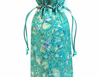 Wine Bottle Gift Bag - Blue Batik with Gold Swirls