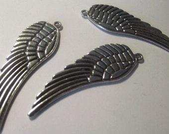 Wing Pendant Charms Silver Plate 3 piece set Component Destash