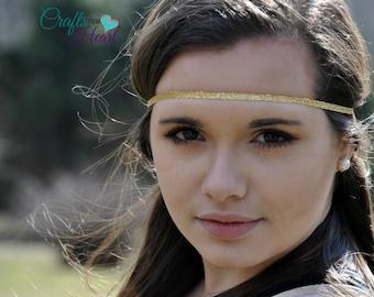 Gold Boho Headband - Adult Boho Headband - Bohemian Headband - Boho - Bohemian - Forehead Headband - Hippie Headband - Gypsy Headband - Halo