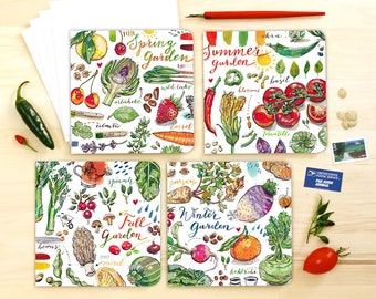 Garden notecards. Set of 4 blank cards. Four seasons. Vegetables. Food illustration. Gardening. Writing set. Organic. Earth. Grow. Rainbow.