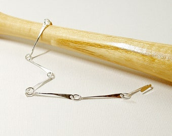 Bar Link Bracelet in Sterling Silver, Hand Forged Minimalist Jewelry, Delicate Bracelet