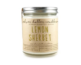 Lemon Sherbet Candle, Scented candles, soy candle, candle, girlfriend gift, valentines for him, gift for her, mom Birthday, gift for mom