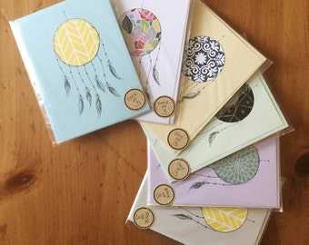 Recycled Paper Dream Catcher Greeting Cards (Pack of 3)