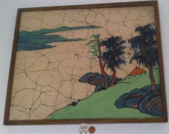 Vintage Hand Made Picture, The Art of Batik, Handmade in TAIWAN, Republic of China, Batik Picture, 17 x 14