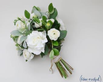 Wedding bouquet eucalyptus bouquet greenery eucalyptus wedding flowers wedding bouquet white bouquet eucalyptus bouquet bridal bouquet rustic bouquet boho bouquet white green ranunculus mightylinksfo