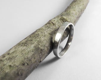 Sterling Silver Ring, Narrow Plain Band Silver Wedding Ring, Thin Silver Band