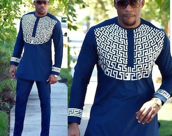 African Mens Wear/Shirt And Trouser Set/African Mens Embroidery Dashiki/Navy Blue Tribal Shirt Blouse And Pant Africa Clothing/Size M,L,XL
