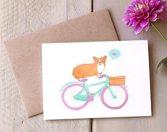 Corgi Love Valentine Card, Dog on Bike, Friendship, Thinking of You, Anniversary, Valentines Day, Greeting Card