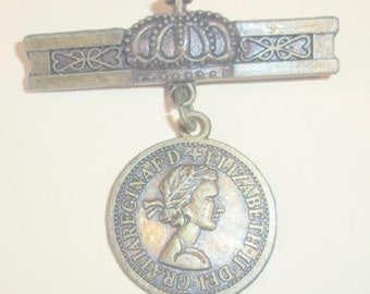 Elizabeth II Dei Gratia Regina Coin and Crown Charm Pin