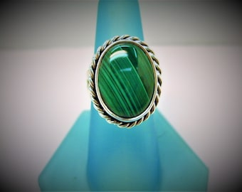 Malachite and Sterling Ring silver