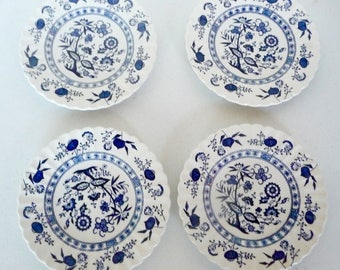 Blue Nordik Meakin 4 Salad Dessert Plates English Ironstone
