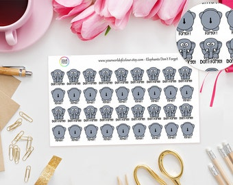 Elephant's Don't Forget Planner Stickers - Erin Condren, Kikki K, Filofax, Happy Planner, Project Life, TN stickers - Adulting Stickers