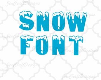 Snow Monogram SVG Font Alphabet, Svg Fonts, Cricut Fonts, Svg Dxf Eps Cricut, Silhouette, Digital Cut Files, Instant Download
