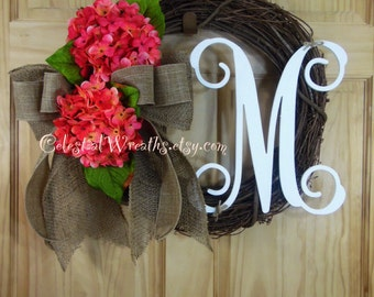 spring wreath - easter wreath - summer wreath - wreath - hydrangea wreath - mothers day -