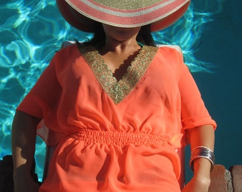 Swimsuit Cover-up, Beach Cover-ups, Swim Cover-ups    Gold Trim Tunic Swimwear Dress    One-Size-Fits-Most    READY TO WEAR    {Sydney}