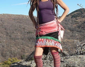ethnic skirt in patcwhork of mixed materials