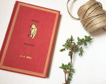 1961 WINNIE THE POOH - Illustrated Vintage Book by A. A. Milne - Baby Gifts, Baby Shower Gifts, Childrens Books, Classic Books, Classic Pooh
