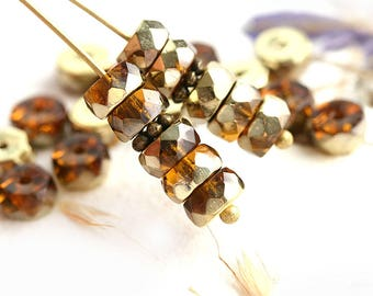 6x3mm Topaz Brown Rondelle beads, Golden coating fire polished czech glass faceted spacers - 25Pc - 2035