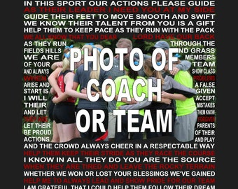 The Coach's Cross Country Prayer with photo, Cross Country Print,CC Coach Poster,Cross Country, Coach's prayers,Senior Night, Sports banquet