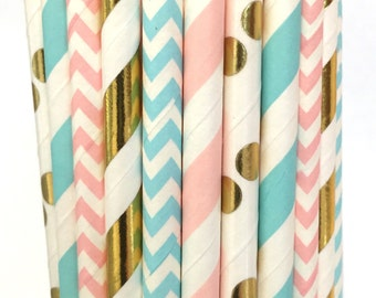 2.85 US Shipping -Gender Reveal Paper Straws - Pink, Blue, and Gold Foil straws - Cake Pop Sticks - Drinking Straws