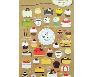 Patisserie Dessert stickers - Korean Stationery Great for Scrapbooking or Embellishment