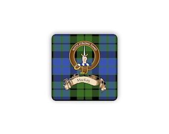 MacKay Scottish Clan Tartan Motto Crest Rubber Coaster