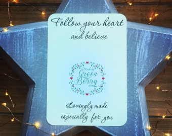 Follow your heart and believe quote card with choice of charm madebygreenberry wish bracelet