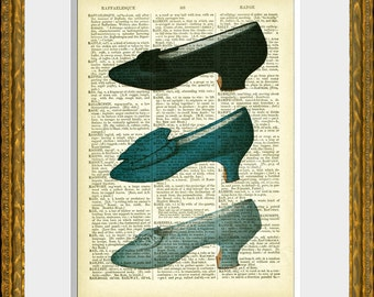 THREE BLUE SHOES recycled book page dictionary print - an antique dictionary page with a French Fashion illustration - home decor