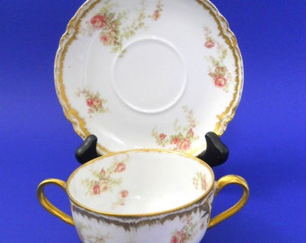 Haviland Limoges 2 Handled Soup Cup & Saucer Pink Roses Gold Scalloped Edge Vntg