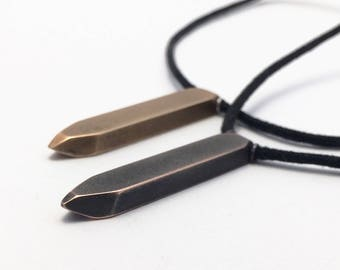 Artifact Necklace - Bronze, Shibuichi - faceted, geometric