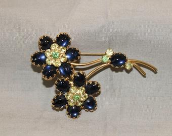 Vintage Blue stone Flowers brooch
