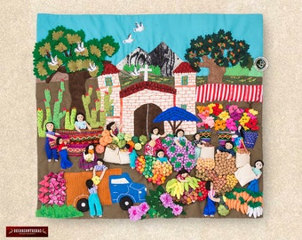 "Quilted wall hangings 17.7""H- Peru Arpilleria (Patchwork) - 3d wall art - Embroidered appliques of fabric - Applique Design Andean Folk Art"