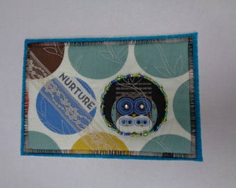 Quilted Fabric Post Card - Charley Harper Owls - mail art fiber art