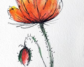 Poppy Flower Original Water Color Art Hand Painted Red Poppy Flower Painting
