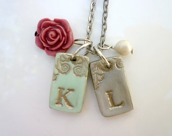 Personalized Jewelry - Initial necklace - My Kid's initials - Silver