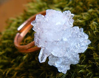 Raw quartz crystal ring_electroforming_shining statement ring_electroformed_electroplated stone_semiprecious crystal_healing stone_OOAK_