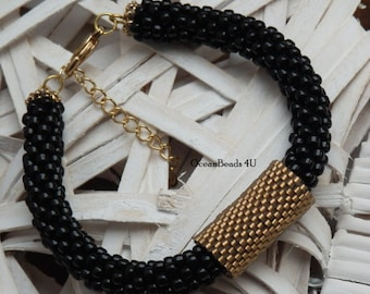 Beaded Crochet Bracelet/ Beaded Bracelet / Black Bracelet with Gold Peyote