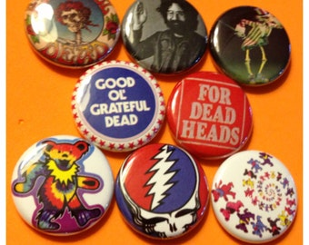 "8 Brand New 1"" ""Grateful Dead"" Button Set"