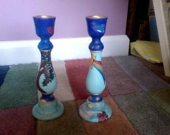Custom Woodburned/Painted Candle Stick Holders
