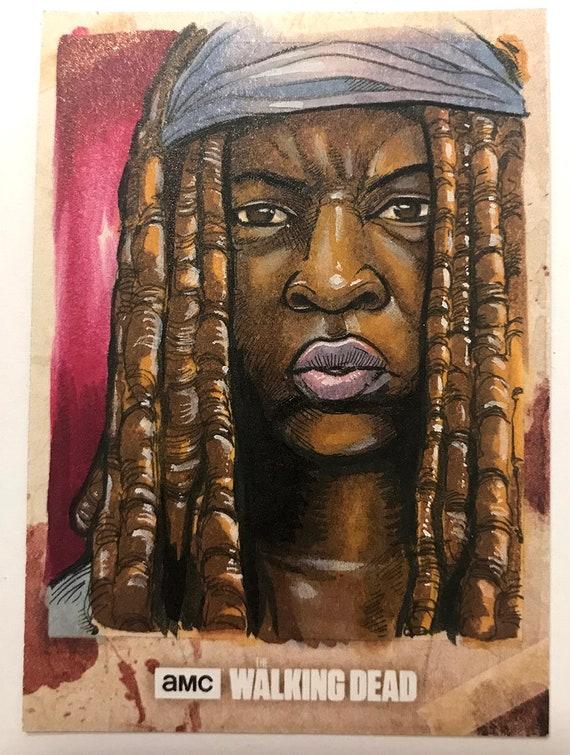 Topps Walking Dead Season 8 Artist Return sketchcard: Michonne