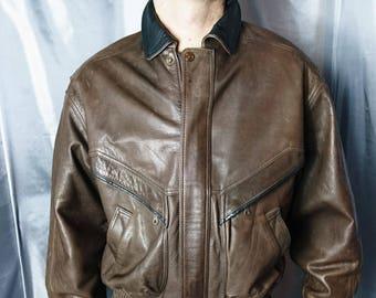 Gents Vintage 80's leather bomber jacket, brown leather, Wallace saks, mens vintage jacket