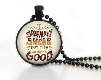 I Solemnly Swear Quote Glass Pendant, Photo Glass Necklace, Glass Keychain