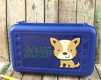 Dog Pencil Box - Personalized Pencil Box - School Supply Box - Pencil Box - Pencil Case - Plastic Pencil Box - Crayon Box - Art Supply Box