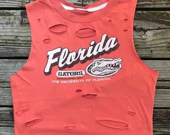 FLORIDA GATORS Orange Rebel Fray Custom Distressed Tank Top Shirt Women's M