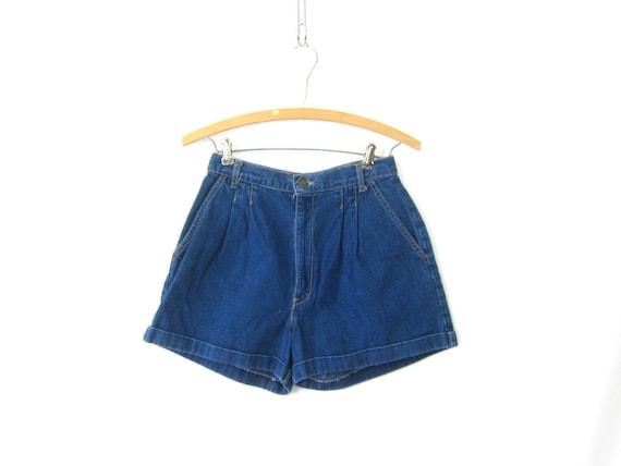 80s Blue Jean Shorts High Waist Dark Denim Cuffed Shorts Vintage 1980s MOM Shorts Hipster Boho Womens Size 26 inch waist Small