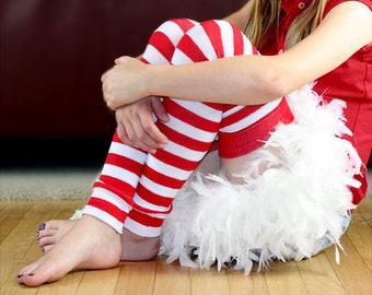 Red and White Striped Girl's Leg Warmers