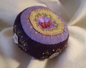 Deep Purple Pincushion with Shell Buttons