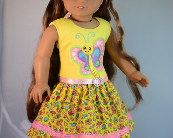 """Tropical Butterfly Dress, Outfit for 18"""" American Girl, Tonner My Imagination and Others"""