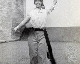 vintage photo 1914 Woman Waves Bolero Hat Big Sash Costume on Roof